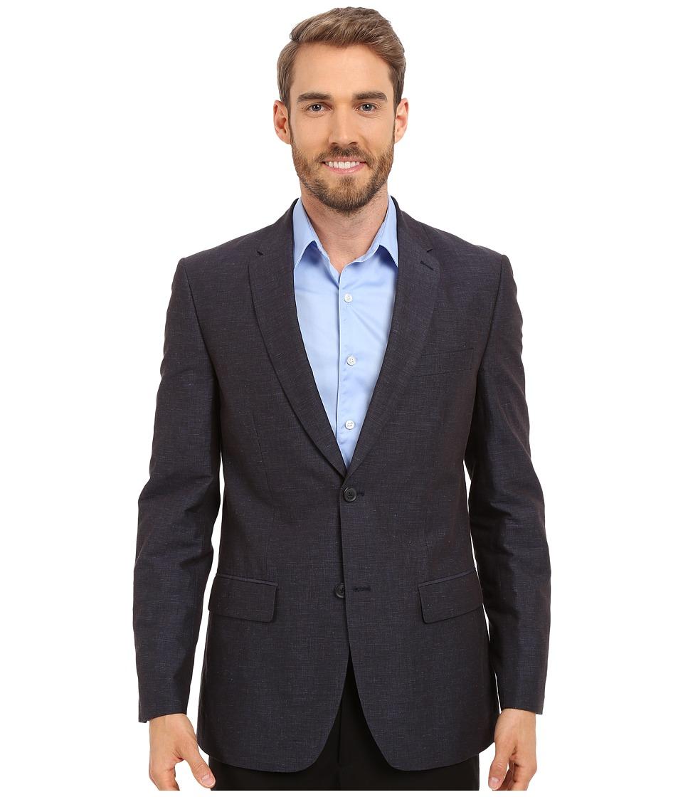 Perry Ellis Slim Fit Linen Cotton End on End Suit Jacket Navy Mens Coat