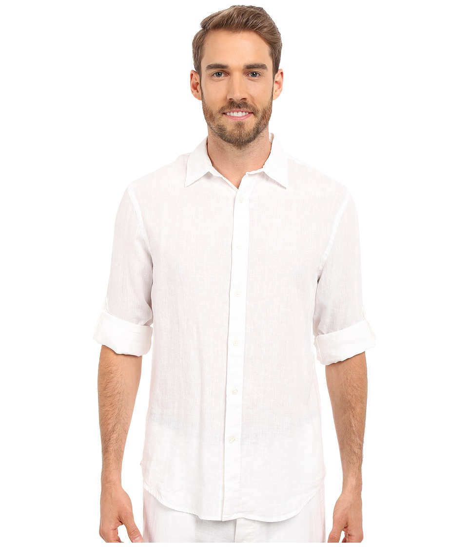 Perry Ellis Rolled Sleeve Solid Linen Shirt Bright White 1 Mens Clothing