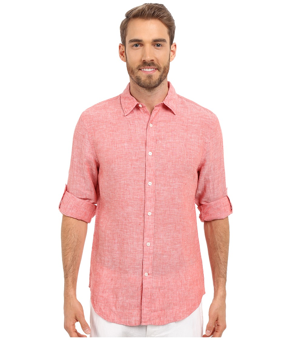 Perry Ellis Rolled Sleeve Solid Linen Shirt Baked Apple Mens Clothing