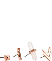 Rebecca Minkoff - Raw Crystal Set of Four Earrings