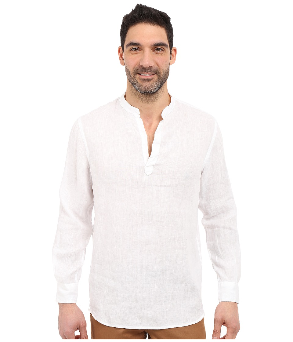 Perry Ellis - Long Sleeve Solid Linen Popover Shirt (Bright White 1) Mens Long Sleeve Button Up