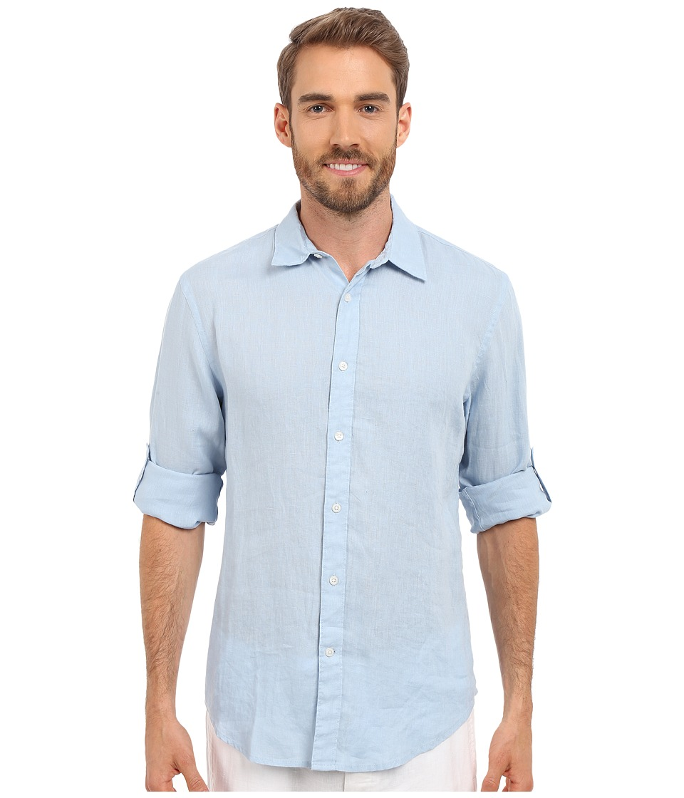 Perry Ellis Rolled Sleeve Solid Linen Shirt Light Blue Mens Clothing