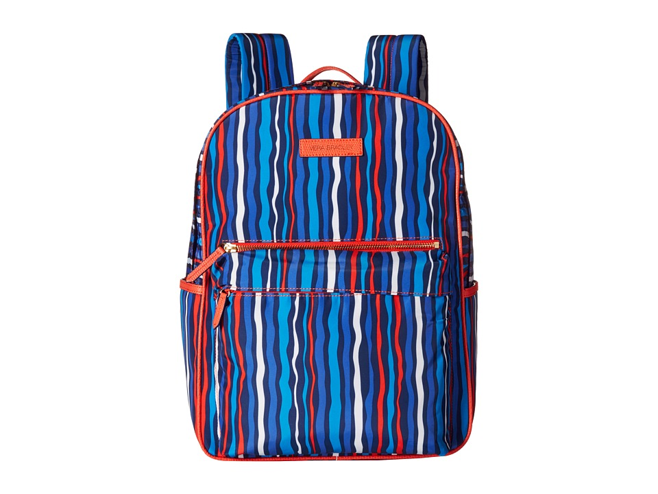Vera Bradley - Preppy Poly Large Backpack (Cobalt Stripe) Backpack Bags