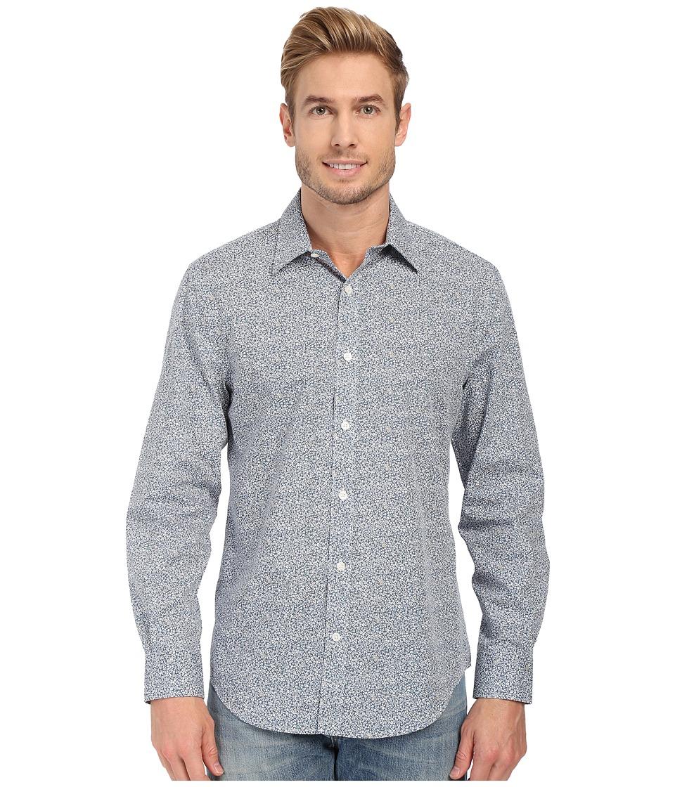 Perry Ellis Long Sleeve Mini Floral Print Non Iron Shirt Bering Sea Mens Clothing