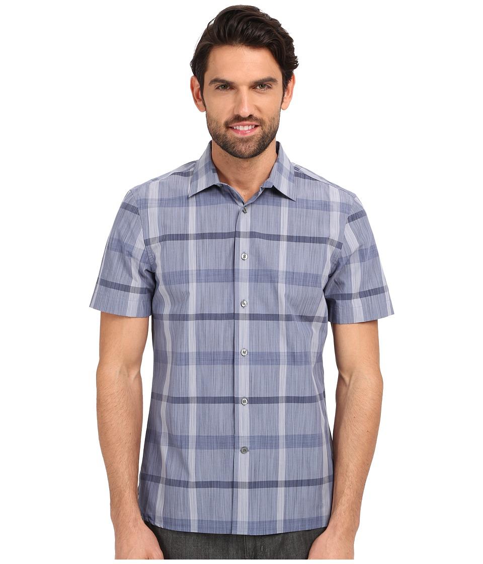 Perry Ellis Slim Fit Space Dye Plaid Pattern Shirt Bering Sea Mens Clothing