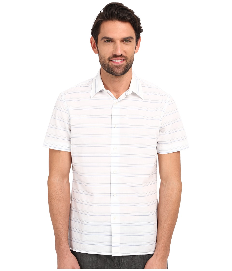 Perry Ellis Horizontal Textured Stripe Shirt Bright White Mens Short Sleeve Button Up