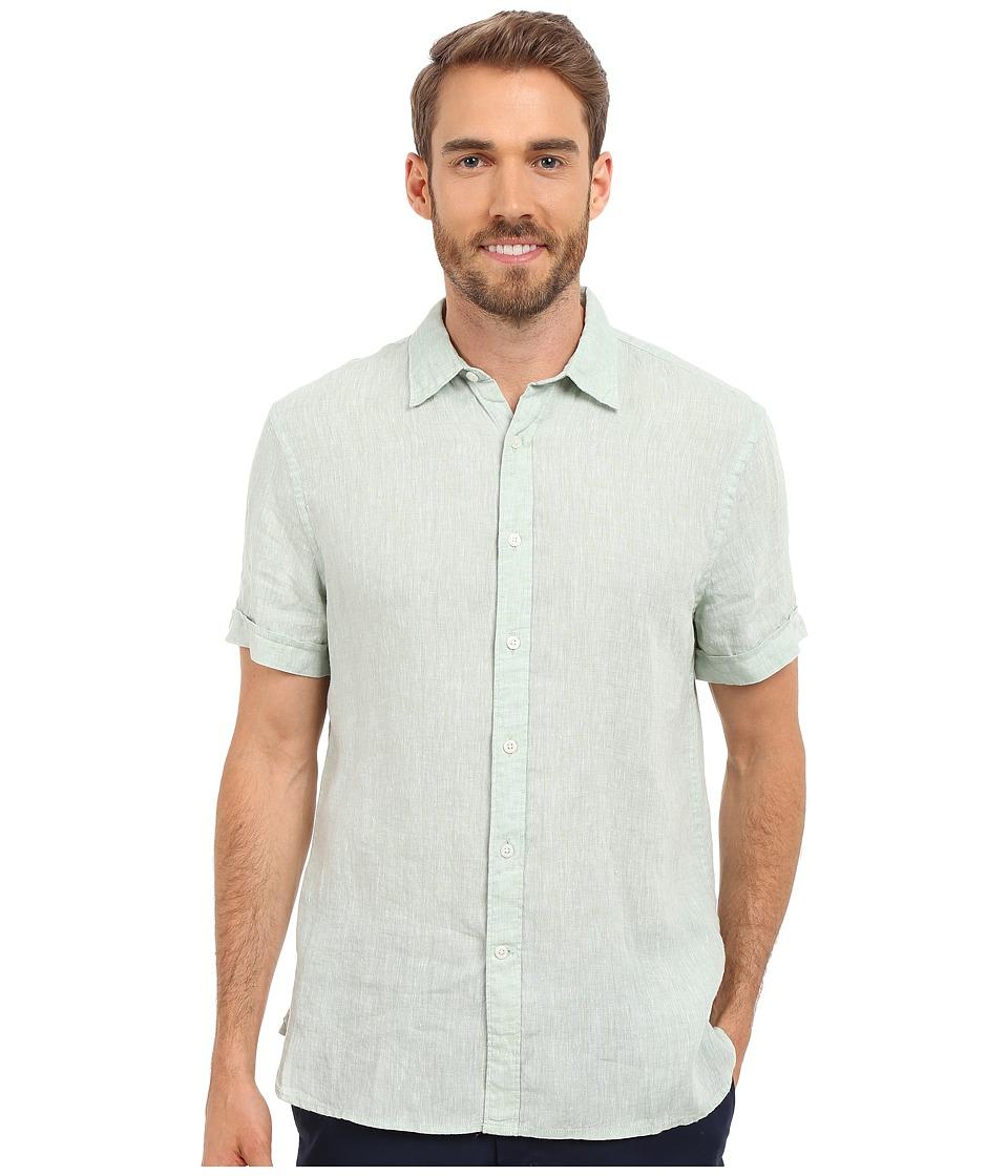 Perry Ellis Short Sleeve Solid Linen Shirt Smoke Green Mens Short Sleeve Button Up