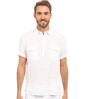 Perry Ellis - Short Sleeve Solid Linen Popover Shirt