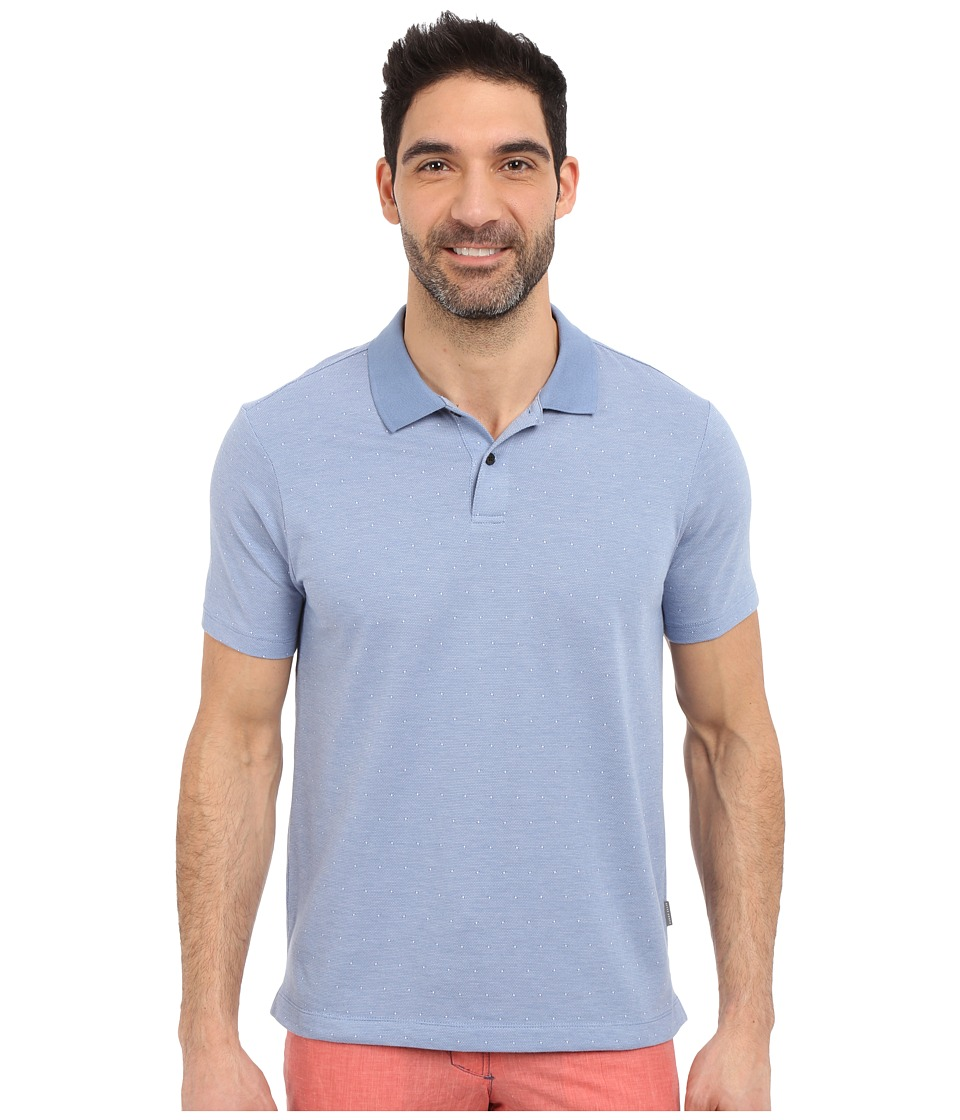 Perry Ellis Two Button Jacquard Polo Colony Blue Mens Clothing