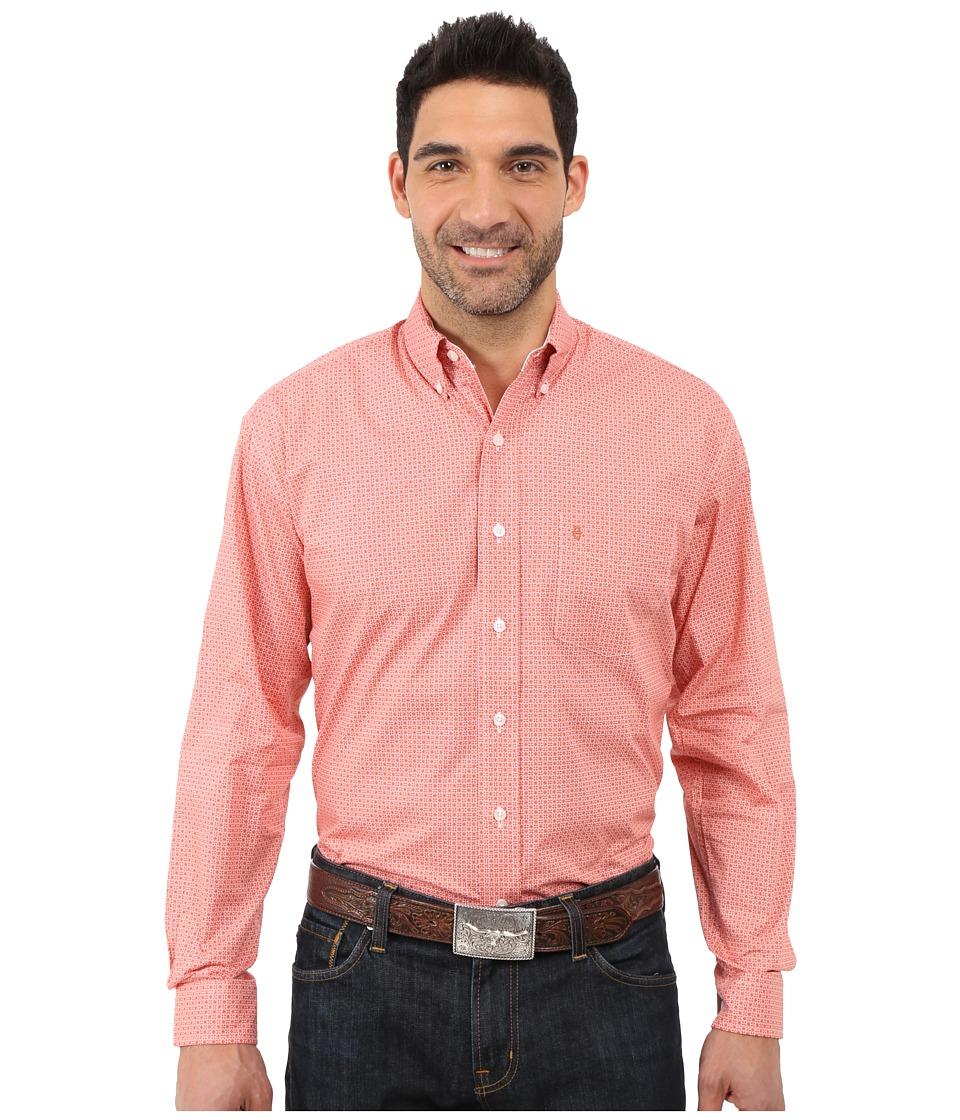 Stetson Orange Peel Geo Long Sleeve Woven Button Shirt Orange Mens Long Sleeve Button Up