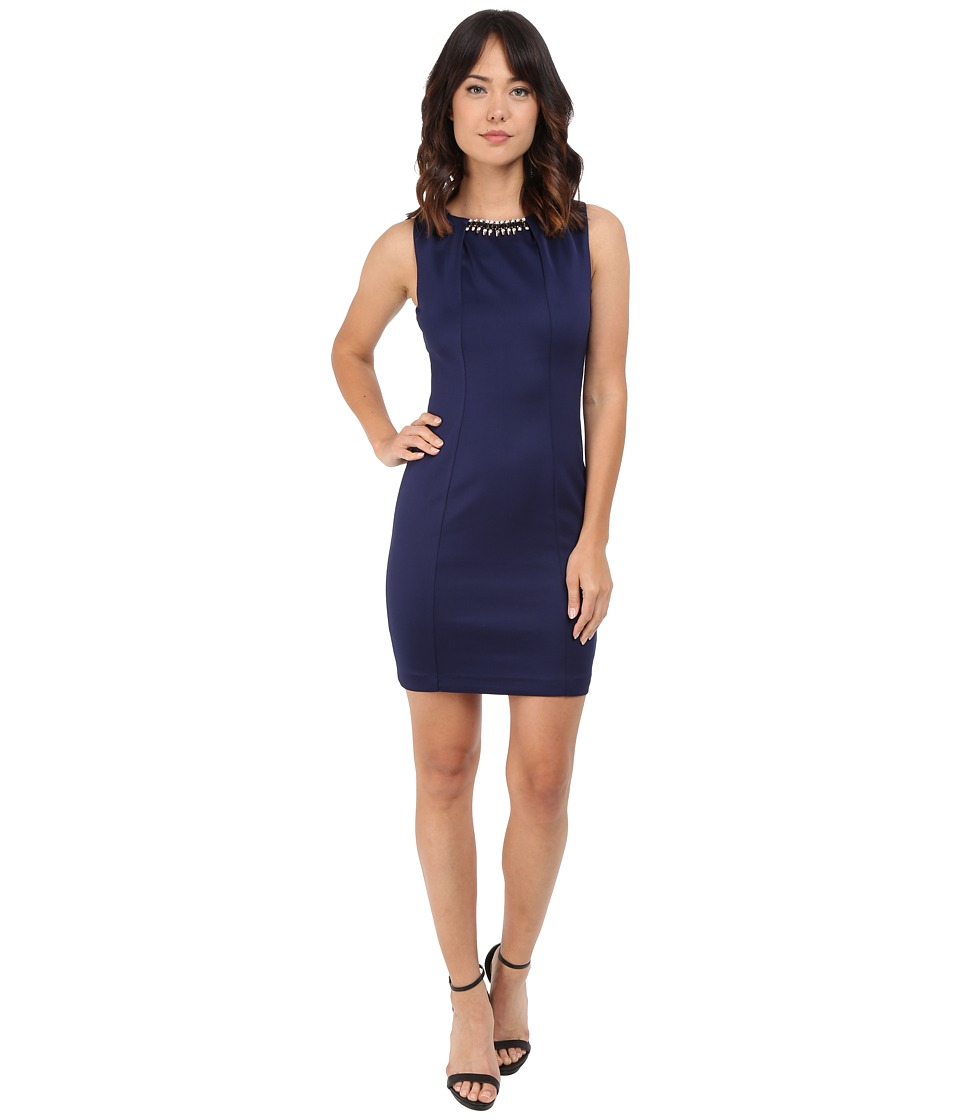 Jessica Simpson - Embellished Sleeveless Scuba Dress JS5D7736 (Navy) Womens Dress