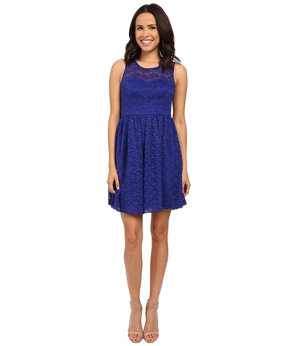 Jessica Simpson Floral Lace Fit and Flare Dress JS6D8645 Blue Violet Womens Dress