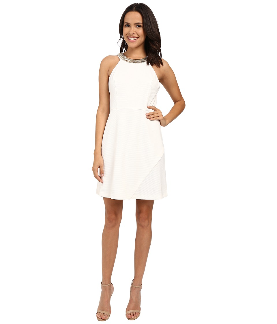 Jessica Simpson Ottoman Solid Dress with Gold Neck Trim JS6D8550 Ivory Womens Dress