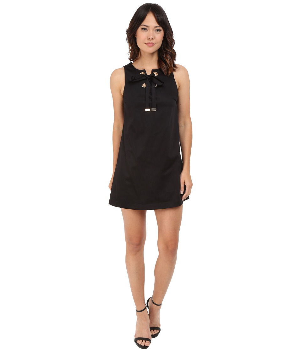 Jessica Simpson - Solid Cotton Satin Dress with Front Bow JS6D8560 (Black) Womens Dress