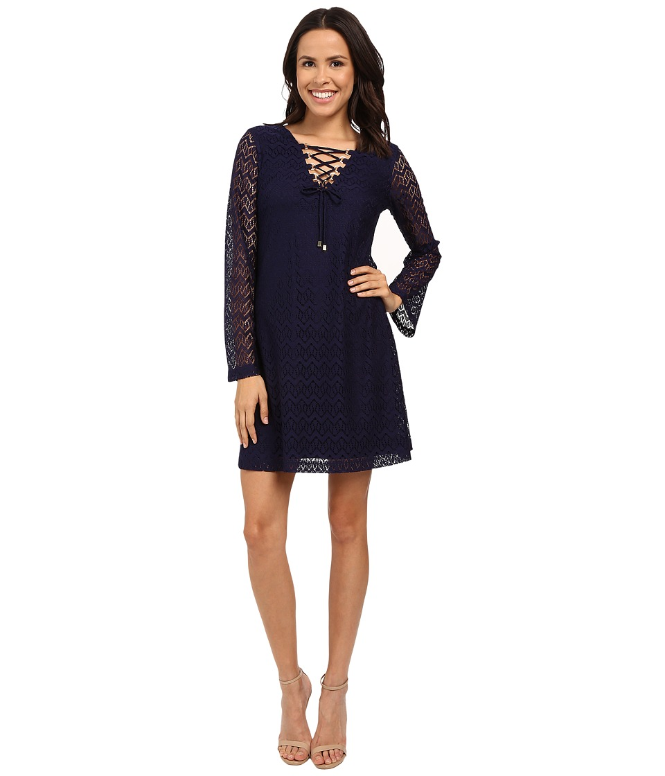 Jessica Simpson 3/4 Sleeve Lace Shift Dress JS6D8546 Navy Womens Dress