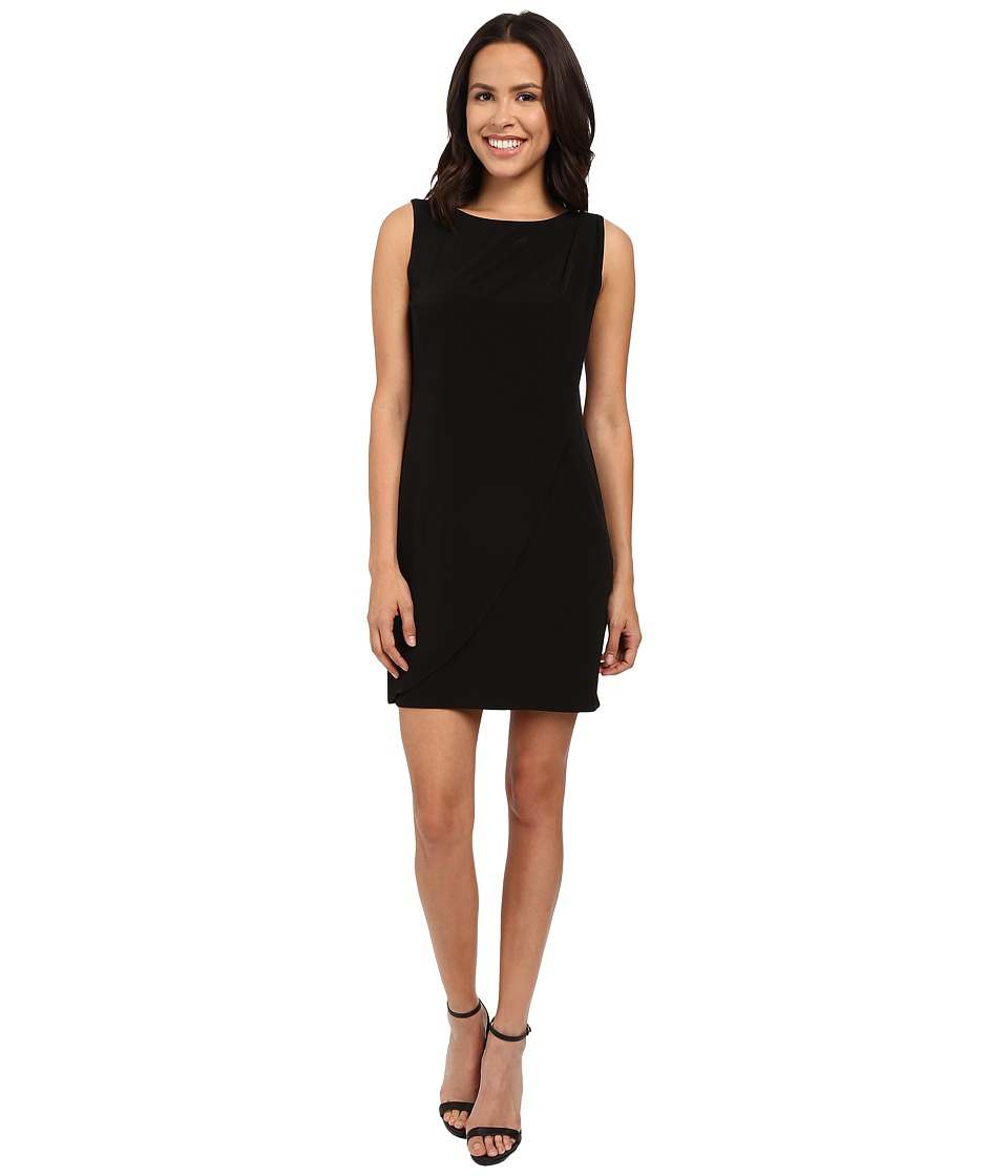 Jessica Simpson - Sleeveless Ity Dress with Front Drape (Black) Womens Dress