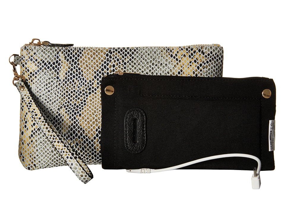 Mighty Purse Cow Leather Charging Wristlet Snake Grey/Yellow Handbags