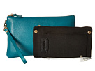 Mighty Purse Cow Leather Charging Wristlet (Teal Blue)