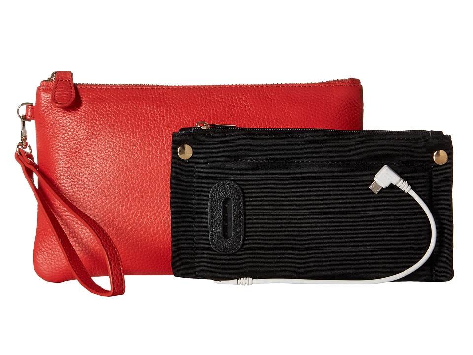 Mighty Purse Cow Leather Charging Wristlet Coral Handbags