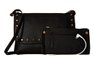 Mighty Purse Vegan Leather Charging Flap X-Body Bag (Black w/ Gold Studs)