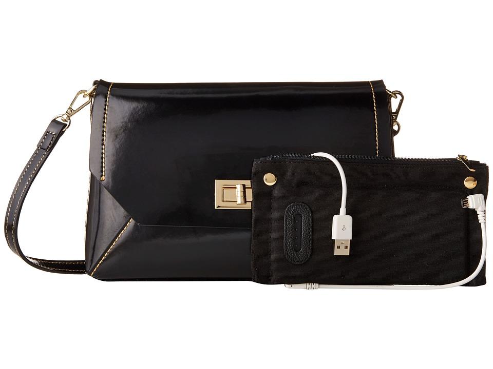 Mighty Purse Micro Fibre Charging Mila X Body Bag Black Cross Body Handbags