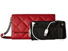 Mighty Purse Vegan Leather Charging Quilted Wallet Bag (Red w/ Silver Buckle)