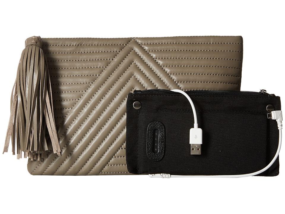 Mighty Purse - Goat Leather Charging 'Geo Clutch (Mushroom) Clutch Handbags
