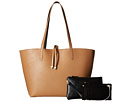 Mighty Purse Vegan Leather Charging Reversible Tote (Black/Tan)