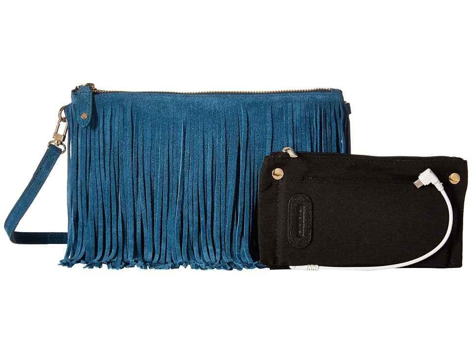 Mighty Purse Suede Leather Charging Fringe Bag Blue Handbags