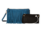 Mighty Purse Suede Leather Charging Fringe Bag (Blue)