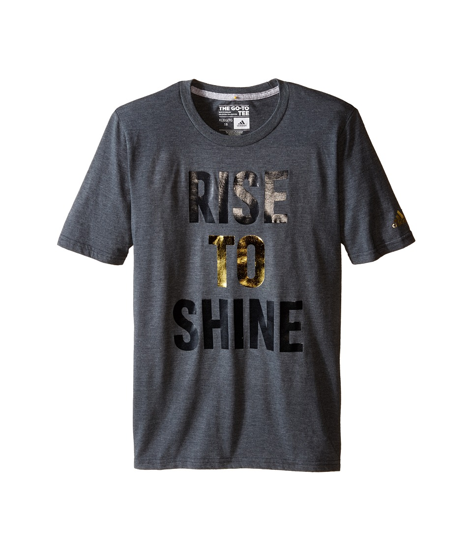 adidas Kids - Rise to Shine Tee (Big Kids) (Dark Grey Heather) Boy