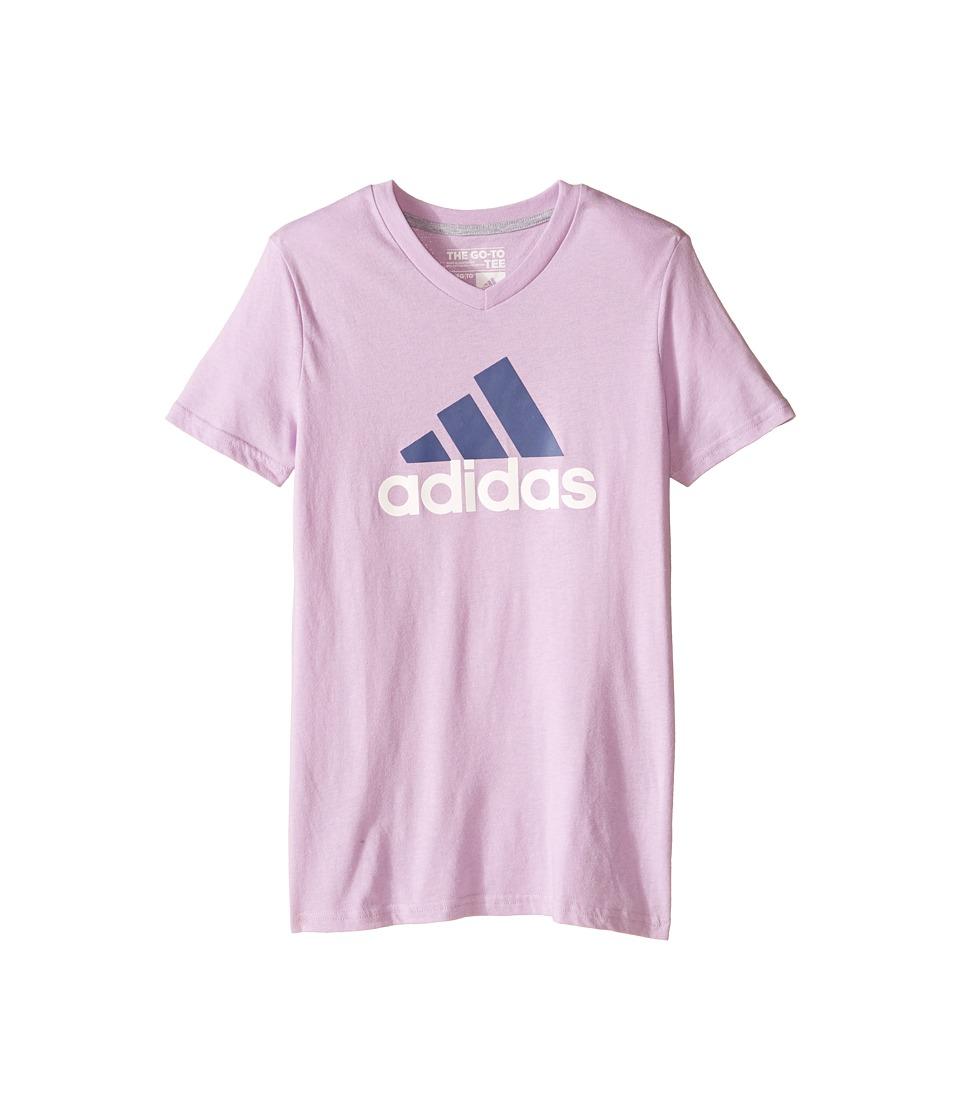 adidas Kids Adi Logo Short Sleeve Tee (Big Kids) (Purple Glow/Raw Purple) Girl