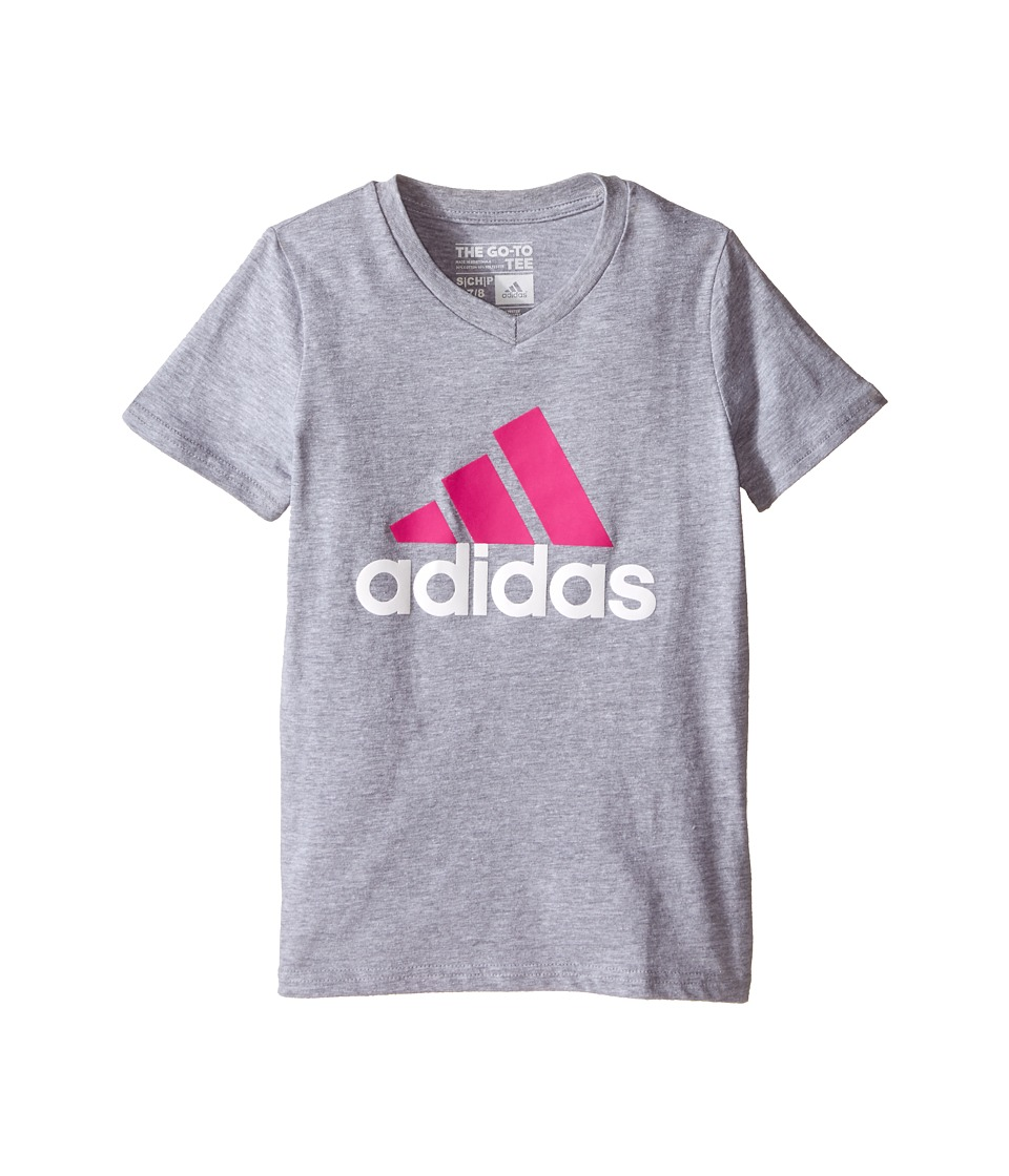 adidas Kids Adi Logo Short Sleeve Tee (Big Kids) (Medium Grey Heather/Shock Pink) Girl