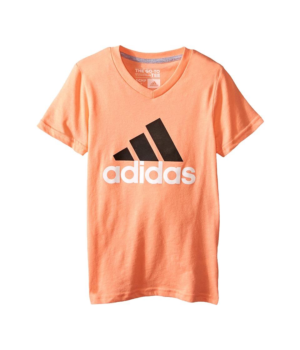 adidas Kids Adi Logo Short Sleeve Tee (Big Kids) (Sun Glow/Black) Girl
