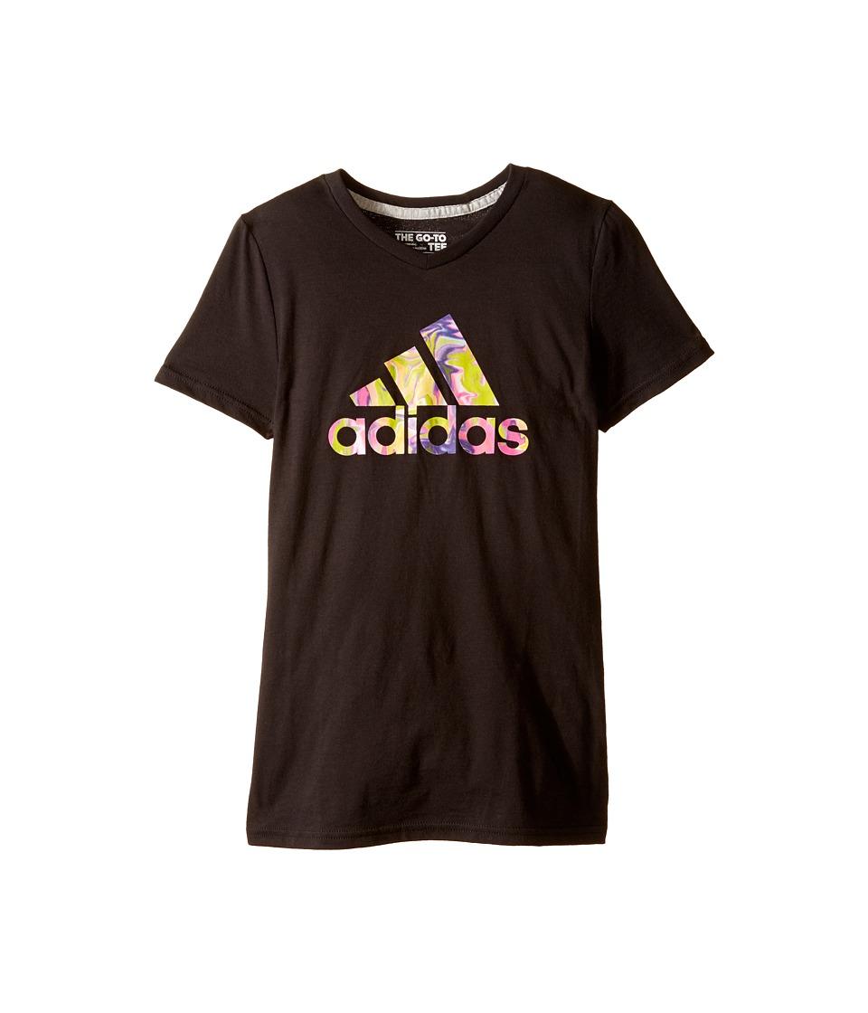 adidas Kids Electric Adi Logo Tee (Big Kids) (Black) Girl