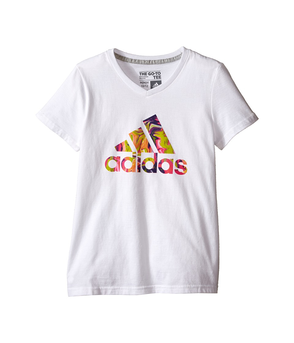 adidas Kids Electric Adi Logo Tee (Big Kids) (White) Girl