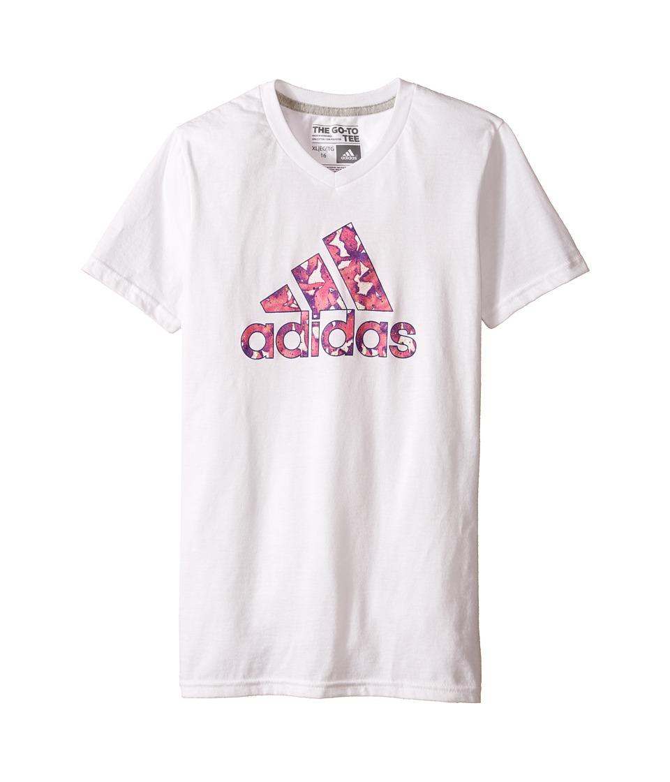 adidas Kids - Flower Adi Logo Tee (Big Kids) (White) Girl