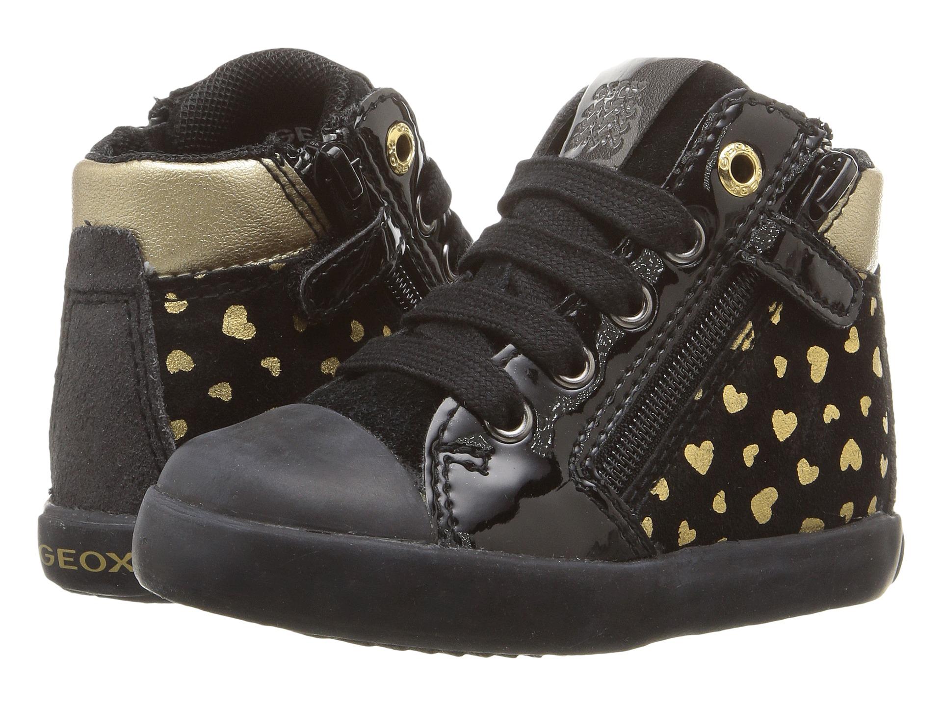 Geox Kids Baby Kiwi Girl 77 Toddler Black Gold Zappos