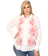 Stetson - Plus Size White Voile Long Sleeve Woven Shirt