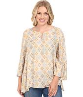Stetson - Plus Size Floral Batik Long Sleeve Woven Peasant Top