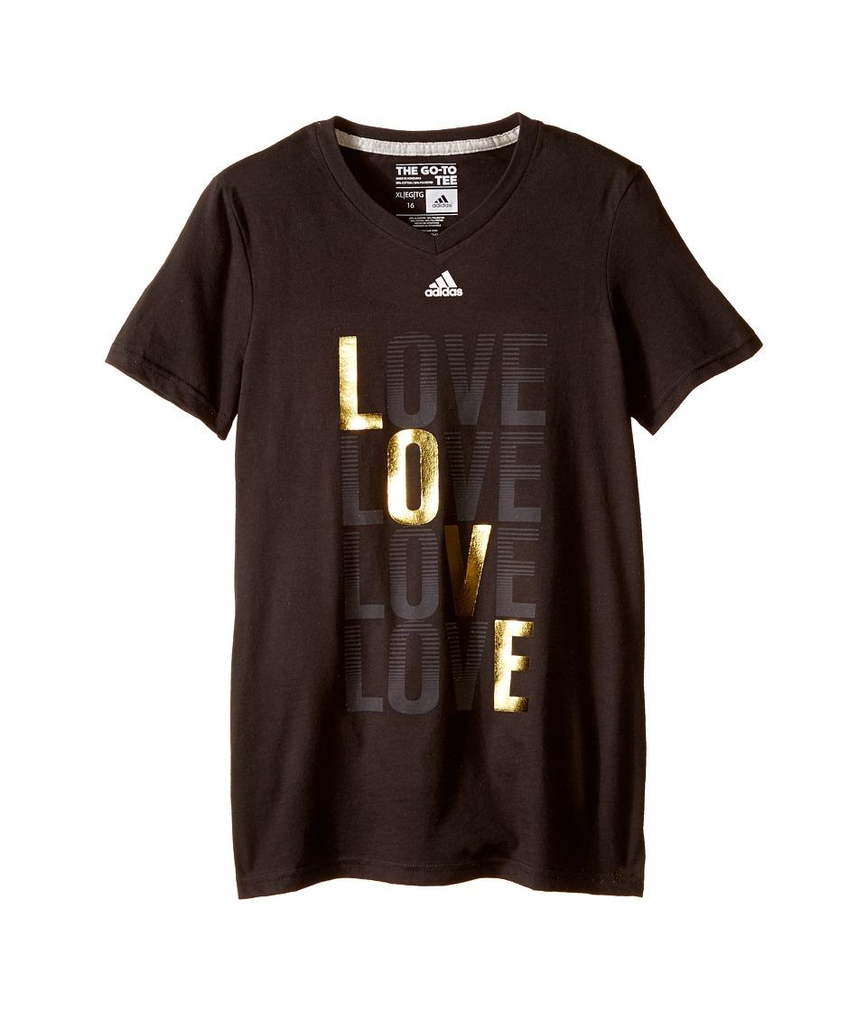 adidas Kids - Love Search Tee (Big Kids) (Black) Girl