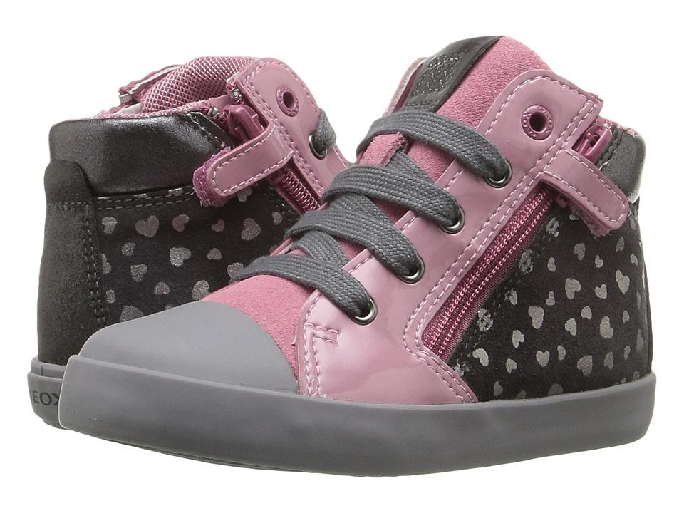 Geox Kids Baby Kiwi Girl 77 (Toddler) (Dark Grey/Dark Pink) Girl