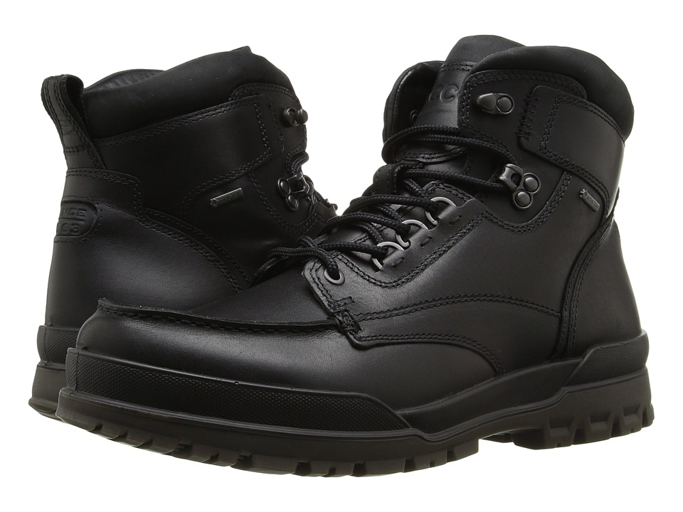ECCO - Track 6 GTX Moc Toe Boot (Black/Black) Mens Lace-up Boots