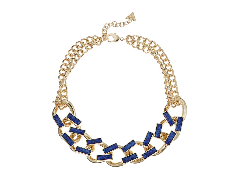 GUESS Faux Leather Links Collar Necklace Gold/Dark Blue Necklace