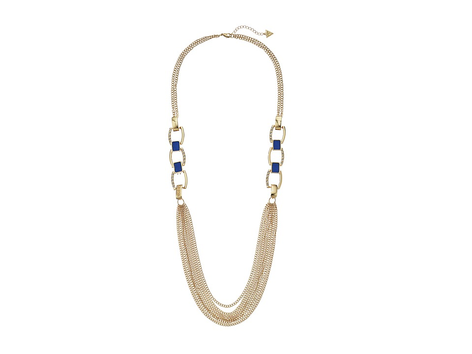 GUESS Faux Leather Links and Multi Chain Necklace Gold/Blue Necklace