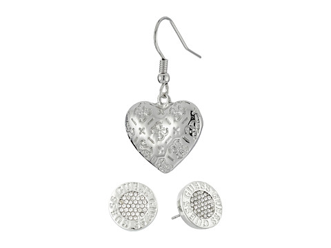 GUESS Logo Button and Etched Logo Heart Duo Earrings Set