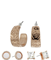 GUESS - Stone Disc and Etched Logo Hoop Trio Ear Earrings Set