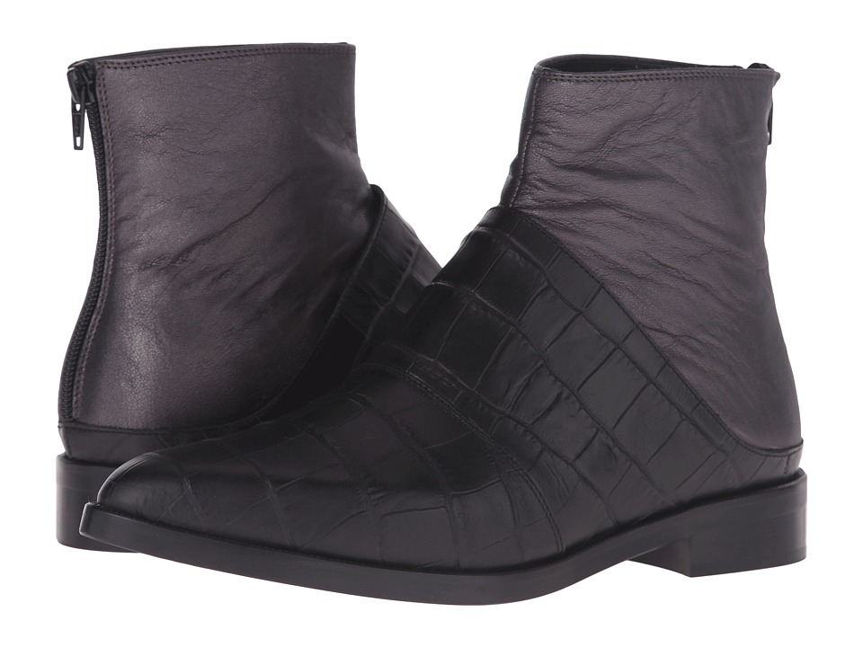 MM6 Maison Margiela Layered Chelsea Boot Black/Gunmetal Leather Womens Boots