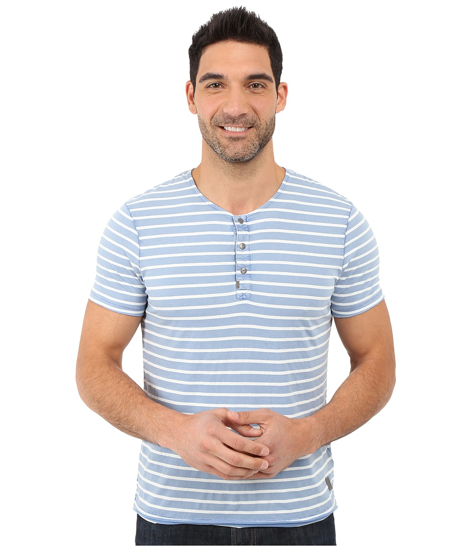 Calvin Klein Jeans - Short Sleeve Wash Stripe Henley (Dutch Blue) Men