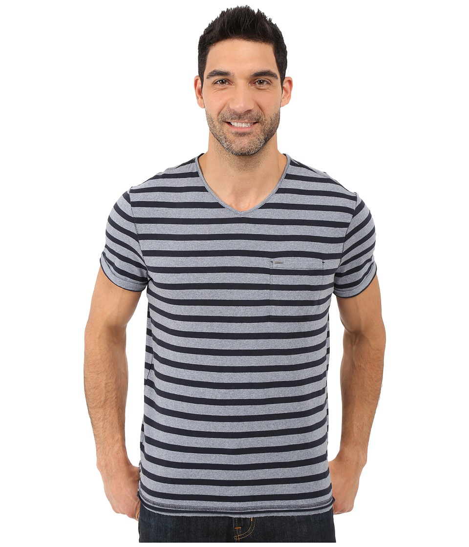 Calvin Klein Jeans - Yarn Dye Stripe Short Sleeve V-Neck (Scorched Denim) Men